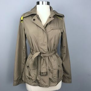 The Limited Belted Trench Coat Tan with Yellow XS